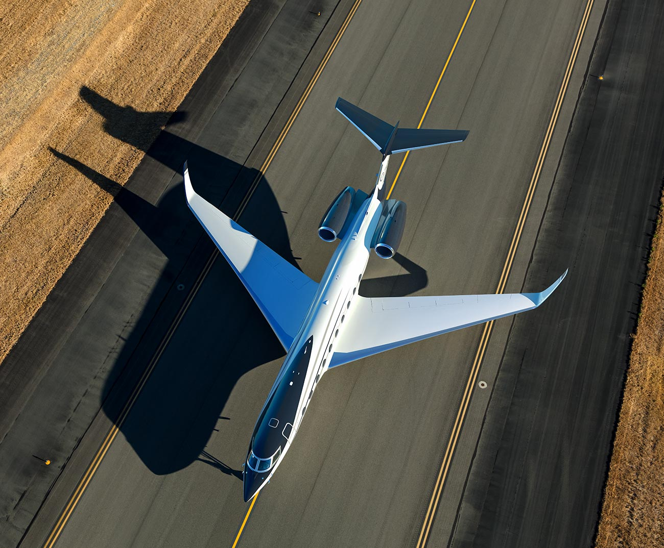 Aerial image of Airplane taxied on runway